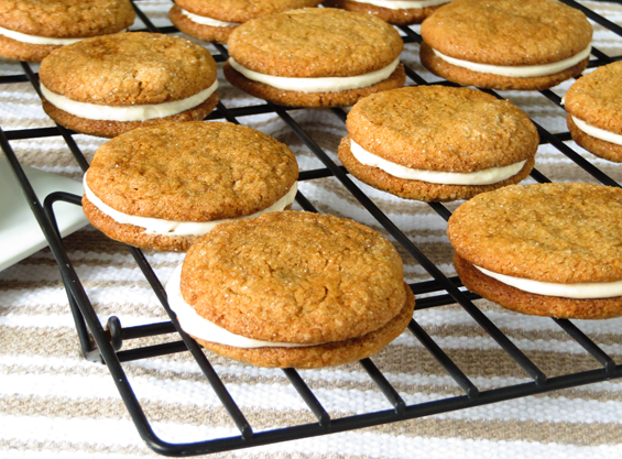 chewy ginger sandwich cookies cinnamon cream cheese filling | sunsets on the side