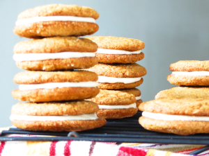 chewy ginger sandwich cookies with cinnamon cream cheese filling   sunsets on the side