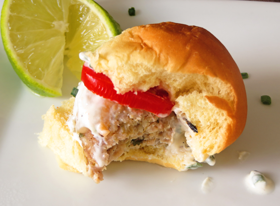 tomatillo turkey sliders with creamy chive lime sauce | sunsets on the side