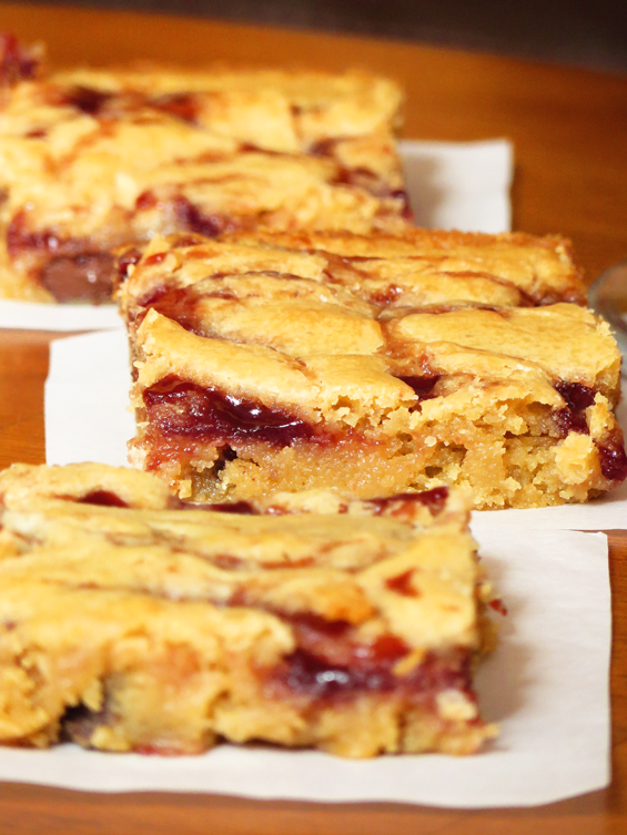 raspberry dark chocolate chunk blondies | sunsets on the side