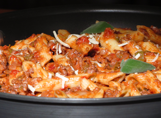 penne with a creamy ground turkey tomato sauce | sunsets on the side