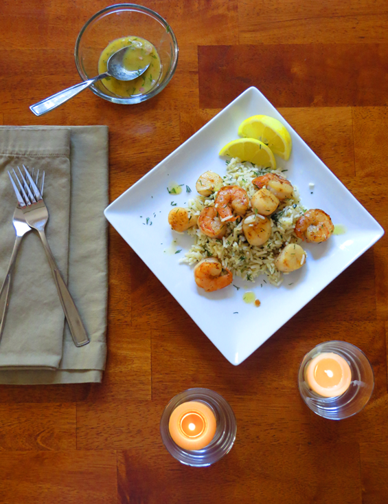 scallops and shrimp over herbed rice with mustard dill vinaigrette