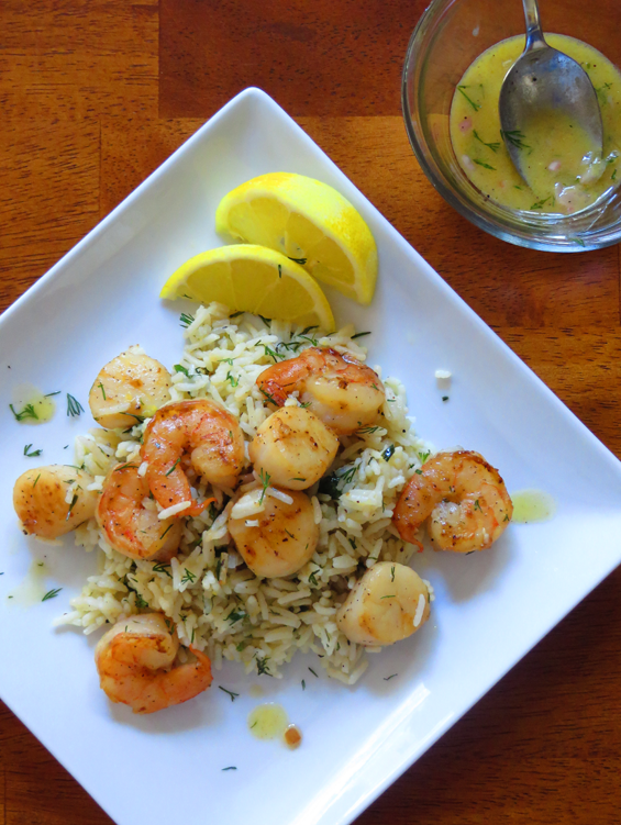 scallops and shrimp over herbed rice with mustard dill vinaigrette | sunsets on the side
