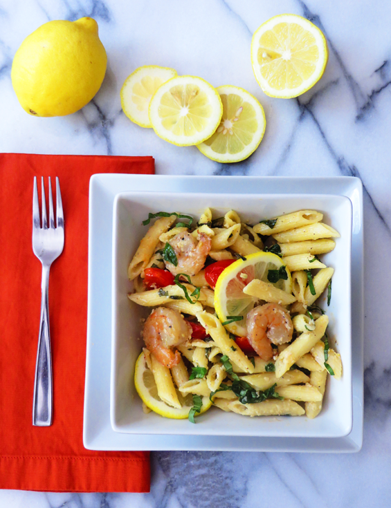 shrimp pasta with lemon cream sauce | sunsets on the side
